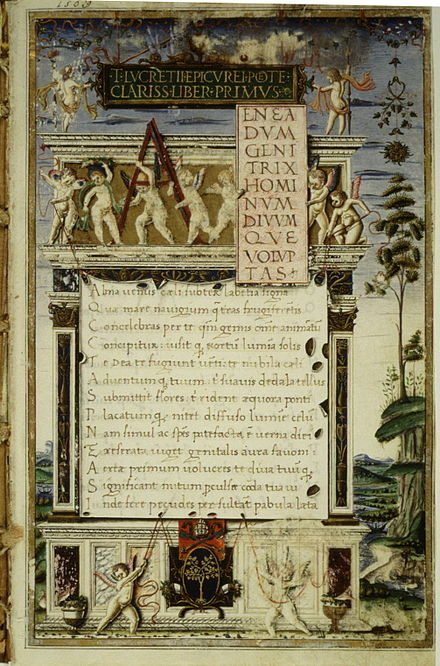 De rerum natura manuscript, copied by an Augustinian friar for Pope Sixtus IV, c. 1483, after the discovery of an early manuscript in 1417 by the humanist and papal secretary Poggio Bracciolini Lucretius, De rerum natura.jpg