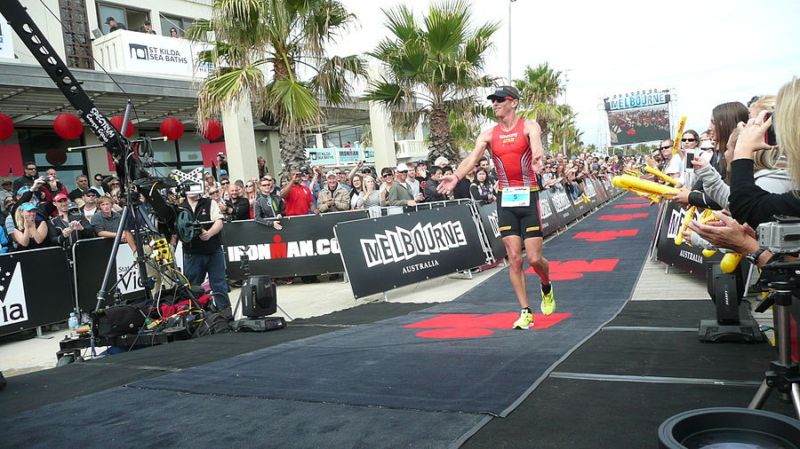 Luke Bell finishing at Ironman Melbourne 2012.jpg