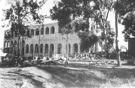 Lydda Mandate Police HQ used by the Harel Brigade as a training base, 1948 Lydda Mandate Police HQ.jpg