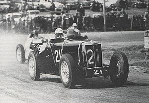 1947 Australian Grand Prix - Race winner Bill Murray (MG TC) contesting the 1947 Australian Grand Prix