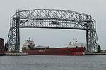 MV Atlantic Erie enters the Duluth Harbor und the Aerial Lift Bridge.jpg