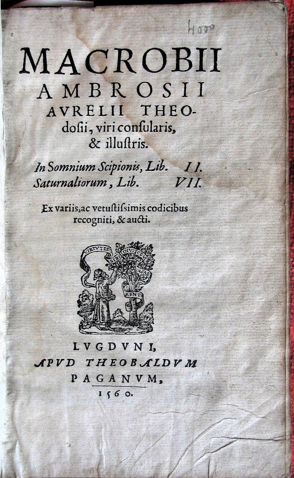 Macrobii scipionis saturnalorium ludguni paganum 1560