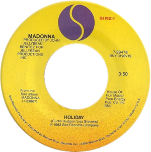 Holiday (Madonna song) - Image: Madonna holiday 1983 us vinyl