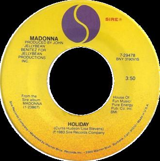 Holiday (Madonna song) - Image: Madonna holiday 1983 us vinyl