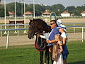 Magyar Derby 2012 A győztes Latin Lover a tulajdonos Gyolai Zoltán családjával.JPG