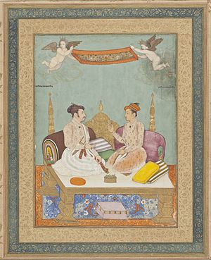 Jai Singh I - Maharaja Jai Singh of Amber and Maharaja Gaj Singh of Marwar - Folio from the Amber Album, circa 1630.
