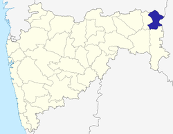 Location of Gondia district in Maharashtra