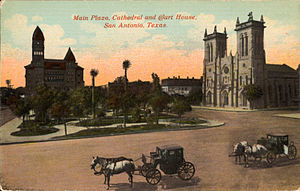 Cathedral of San Fernando - Main Plaza, Cathedral, and Court House, San Antonio, Texas (postcard, circa 1901-1914)