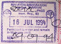 Entry Stamp Into Sarawak At Merapok Checkpoint On The Sabah Sarawak Border With Written
