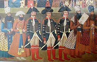 Harford Jones-Brydges - The British delegation at the Court of Fath Ali Shah in 1808: John Malcolm, Harford Jones and Gore Ouseley.