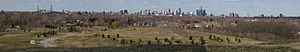 Parks in Windsor, Ontario - Panorama shot of the Detroit Skyline and the Ambassador Bridge from Malden Park, Windsor