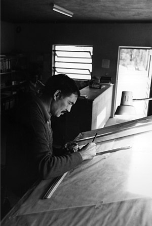 Drafter - A drafter in Portugal in the 1970s, using a drafting machine
