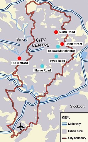 Manchester derby - Map of Manchester showing the current and former home grounds of the clubs. City: Hyde Road (1887–1923), Maine Road (1923–2003), City of Manchester (2003–present). United: North Road (1878–1893), Bank Street (1893–1910), Old Trafford (1910–present)