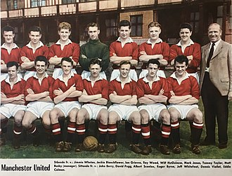 Taylor (back row, second from right) in a Manchester United team photo in 1957 Manchester United FC 1957.jpg