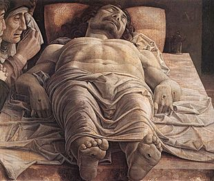 Il Cristo morto e tre dolenti di Andrea Mantegna, 1480-1490 ca., tempera su tela, Milano, Pinacoteca di Brera.