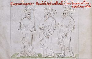 Margaret of Brabant - Margaret (far left) with daughter-in-law Elisabeth (centre) and Anna granddaughter-in-law (right)