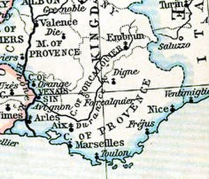 County of Forcalquier - Map of Forcalquier c. 1184
