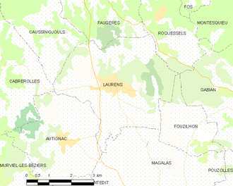 Laurens, Hérault - Map