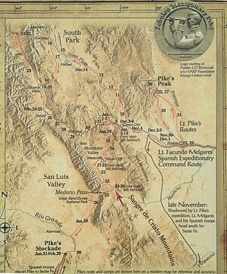 "Pike expedition - Photograph of a portion of a Colorado wayside marker located where the Medano Pass Primitive Road (CR 599) joins Rt 69, just south of Westcliffe: ""1806-07 Lt. Zebulon Pike Southwestern Expedition"", showing a map of routes taken by Pike's group"