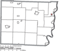 Map of Belmont County Ohio Highlighting Brookside Village.png