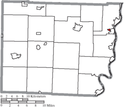 Location of Brookside in Belmont County