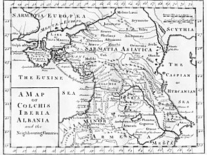 Mushki - On this map, based on ancient Greek literary sources, the Moschi are located in the southern approaches of Colchis. London, c 1770