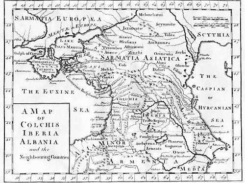 "The ""Cimmerian Bosphorus"" of antiquity, shown on a map printed in London, c. 1770. Map of Colchis, Iberia, Albania, and the neighbouring countries ca 1770.jpg"