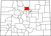 Map of Colorado highlighting Boulder County