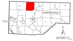 Location of Cussewago Township in Crawford County