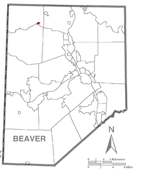 Map of Darlington, Beaver County, Pennsylvania Highlighted.png