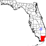 A state map highlighting Miami-Dade County in the southernmost part of the state. It is large in size.