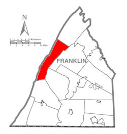 Map of Franklin County, Pennsylvania highlighting Metal Township