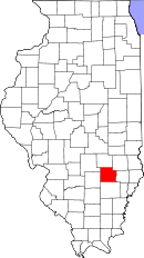 Map of Illinois highlighting Clay County