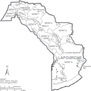 Map of Lafourche Parish, Louisiana, United Sta...