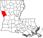 State map highlighting Sabine Parish