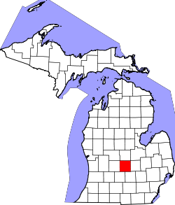 map of Michigan highlighting Clinton County