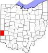 State map highlighting Preble County
