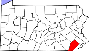 Map of Pennsylvania highlighting Chester County