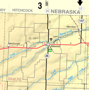 Rawlins County, Kansas - Image: Map of Rawlins Co, Ks, USA