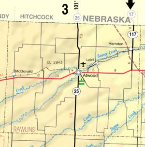 Atwood, Kansas - Image: Map of Rawlins Co, Ks, USA