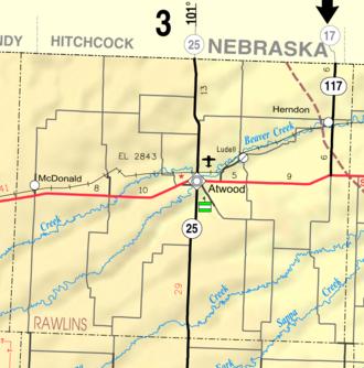 Rawlins County, Kansas - Image: Map of Rawlins Co, Ks, USA