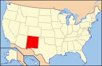 Map of the USA highlighting New Mexico