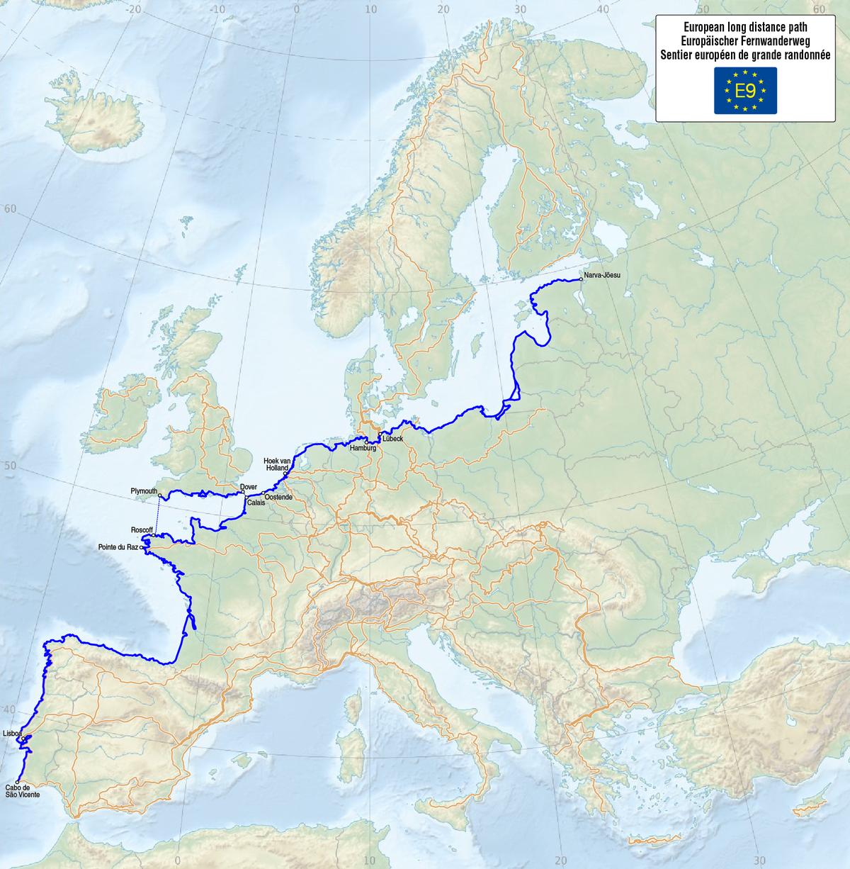 E European Long Distance Path Wikipedia - Portugal map distances