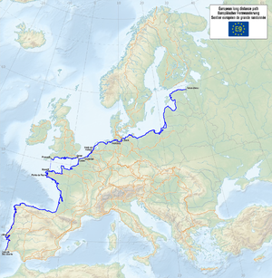 E9 European long distance path - Image: Map of the European Long Distance Path E9