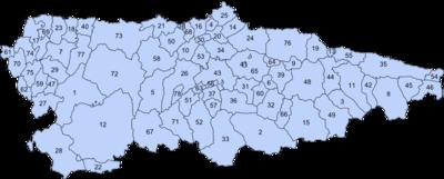 Mapa Politico De Asturias.Anexo Concejos Y Comarcas Del Principado De Asturias