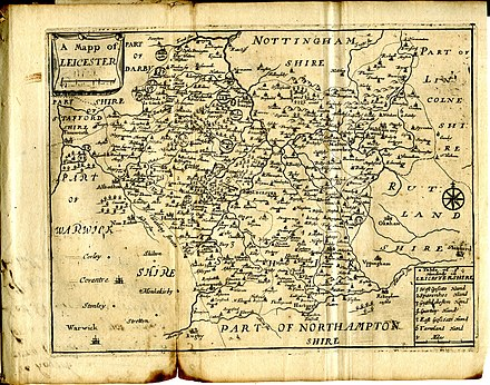 A late 17th-century map of the county Maps of England circa 1670, Leicester 22 of 40 (13432928824).jpg
