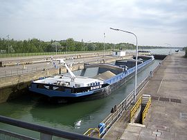 Barge in the lock beside the power station
