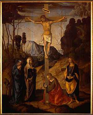Crucifixion - Crucifixion of Jesus by Marco Palmezzano (Uffizi, Florence), painting c. 1490