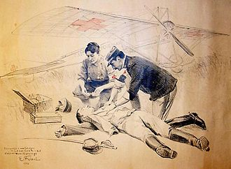 Marie Marvingt - Émile Friant's drawing of Marie Marvingt and her proposed air ambulance, 1914