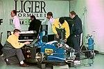 Martin Brundle`s Ligier JS39 in the pit garage at the 1993 British Grand Prix (32873490253).jpg